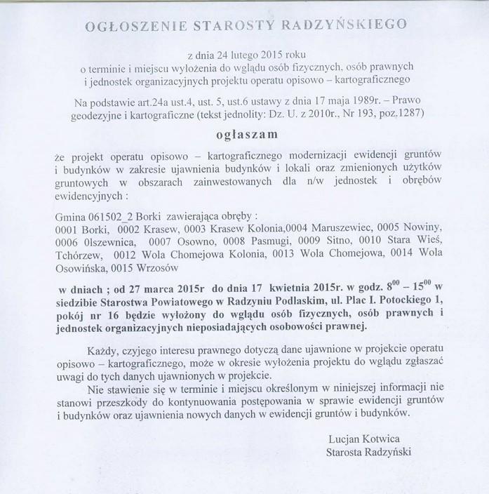 Informacje Starosty Radzyńskiego