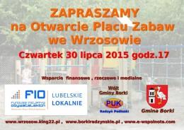Otwarcie placu zabaw we Wrzosowie 30 lipca 2015 godz. 17.