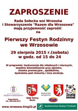 Zaproszenie na Pierwszy Festyn Rodzinny we Wrzosowie