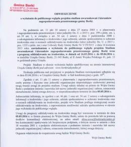 Obwieszczenie o wyłożeniu do publicznego wglądu projektu studium uwarunkowań i kierunków zagospodarowania przestrzennego gminy Borki