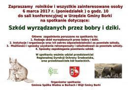 Zaproszenie na spotkanie 6 marca 2017 r. do UG Borki