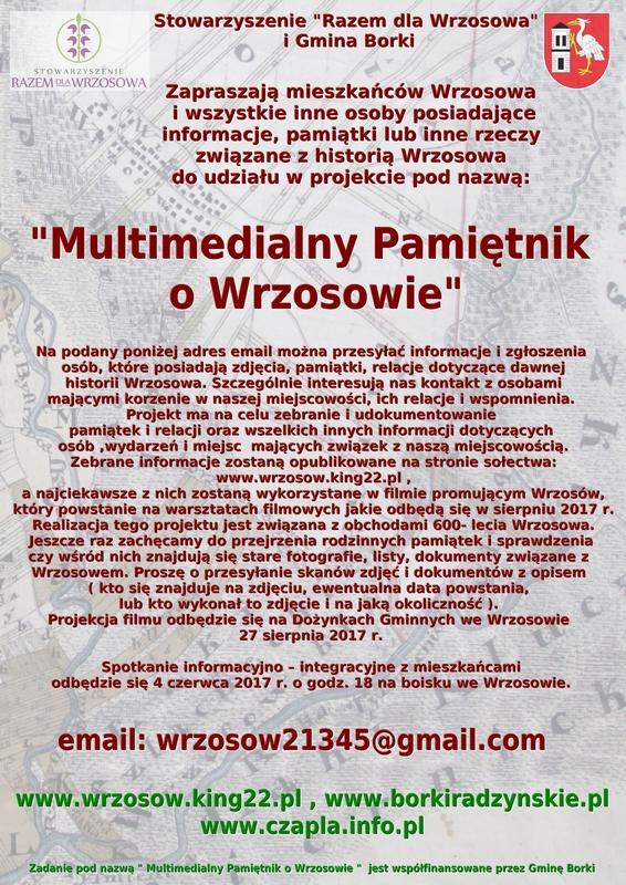 """""""Multimedialny Pamiętnik o Wrzosowie""""  zmiana terminu warsztatów filmowych."""
