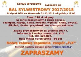 Zapraszamy na BAL SYLWESTROWY 2017/18 do Wrzosowa