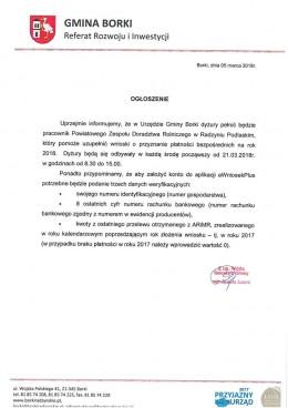 Ogłoszenie dla rolników dotyczące dyżuru pracownika Zespołu Doradztwa Rolnego