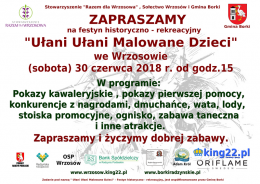 Zapraszamy na festyn do Wrzosowa 30 czerwca 2018 r. (sobota ) od godz. 15