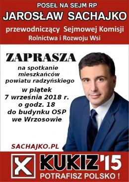 ZAPRASZAMY NA SPOTKANIE Z POSŁEM JAROSŁAWEM SACHAJKO 7 Września 2018 r o godz. 18 do Wrzosowa.