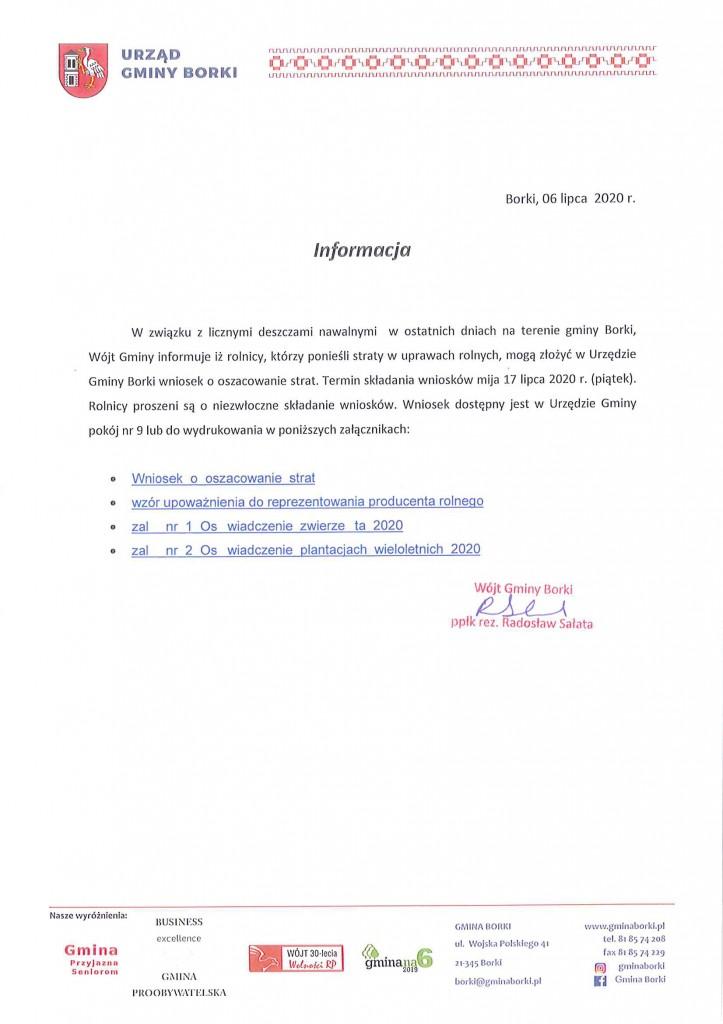Informacja Wójta Gminy Borki-1