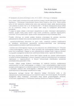 Odpowiedź ZGK  Borki  na pismo mieszkańców Wrzosowa w sprawie jakości wody w wodociągu.